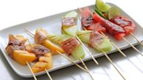 Grilled Melon and Prosciutto Wrapped Skewers