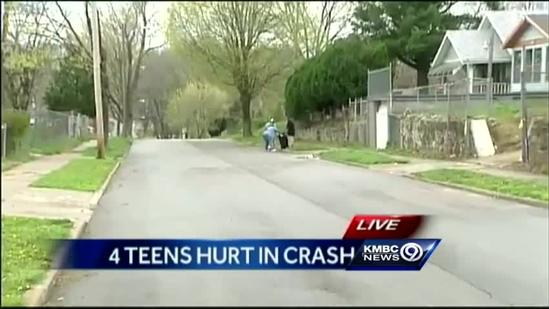 4 teens injured when SUV hits parked pickup