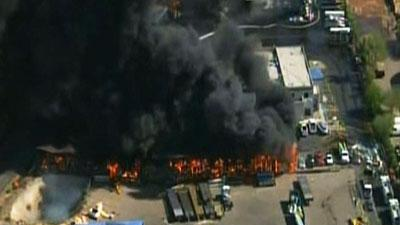 Raw Video: Warehouse fire in suburban Phoenix