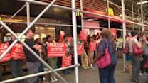 Fast food workers strike for higher wages and the right to unionize