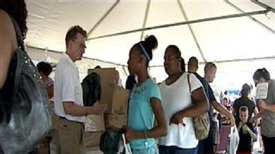 Raw Video: Kids Get School Supplies At National Night Out