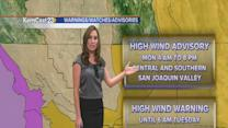 High wind warning in the mountains and desert