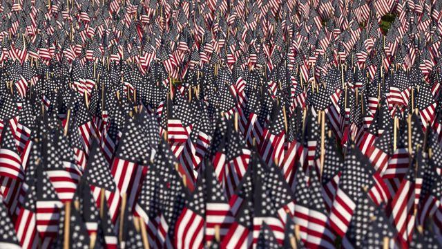 An American flag from stitch to stitch
