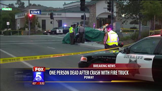 One dead after crash with fire truck in Poway