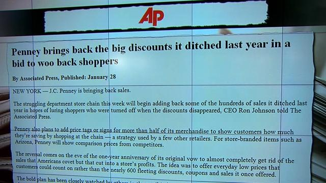 J.C. Penney brings back sale prices for stores