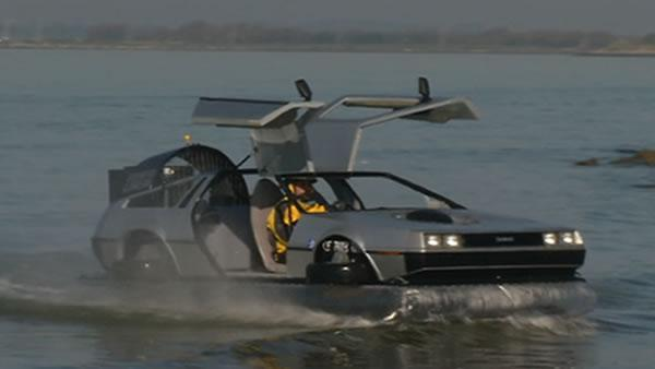 Jobless man shows off home-built DeLorean hovercraft on SF Bay