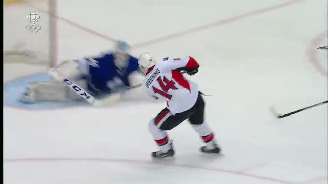 Greening buries it after great centering pass