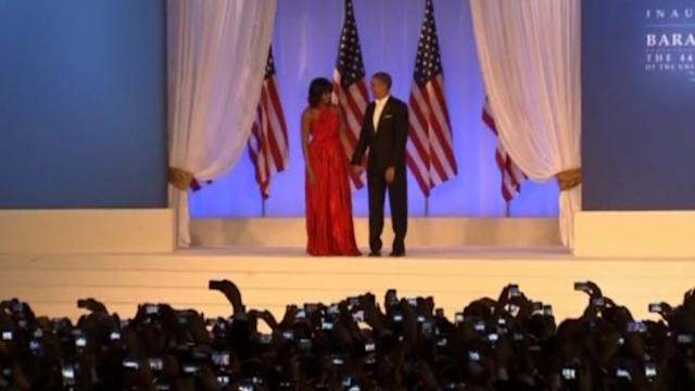 Michelle Obama's red gown goes on display
