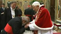 Cardinals' Goodbye to Pope Is in Their Kiss (Or Not)