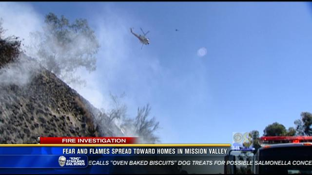 Fear and flames spread toward homes in Mission Valley