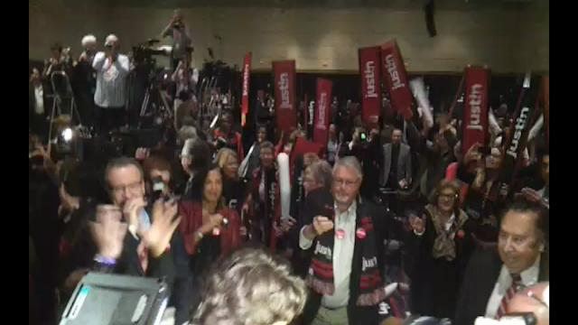 Justin Trudeau makes his way through the crowd
