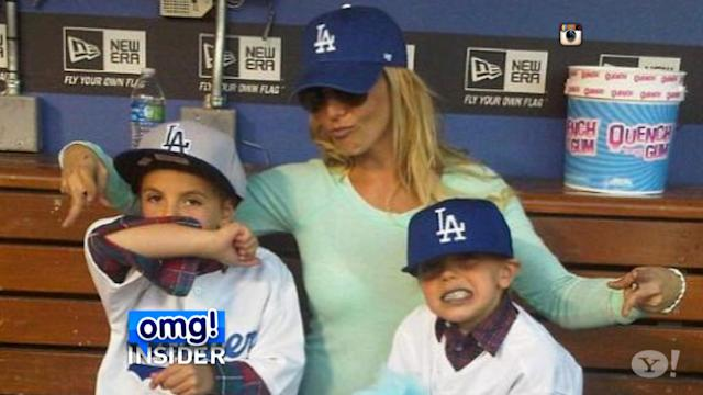 Britney Spears Takes Her Boys Out to the Ballgame