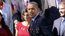 Woman nearly faints during Obama speech