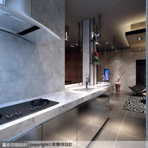 廚房以人造石檯面搭配不銹鋼櫃體的設計,極具現代感的俐落個性。