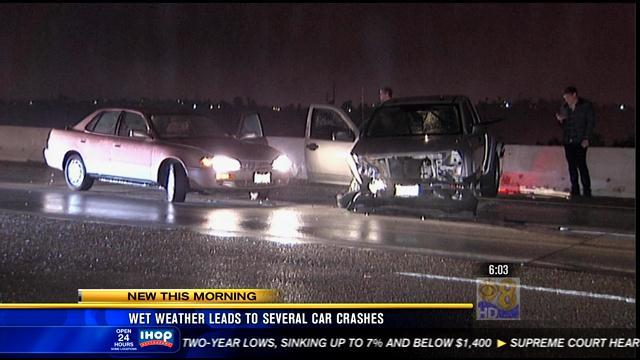 6AM UPDATE: Wet weather leads to several car crashes