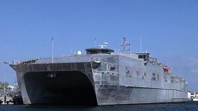 Navy Unveils Ship for Speedy Troop Transport