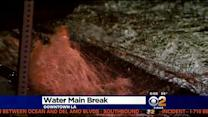 LAFD Responds To Water Main Break In Downtown LA