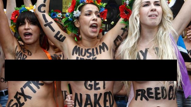 WTF- Topless Femen Woman Strip Off To Protest In Paris