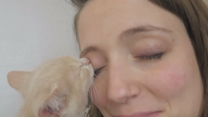 Kitten Tries to Drink Milk From Owner's Eye