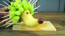 How to make a hedgehog using pear and grapes