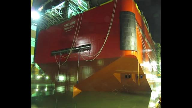 Shell's 488-metre floating gas facility leaves dry dock