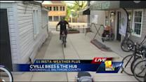 Ava gets tips for Bike to Work Day