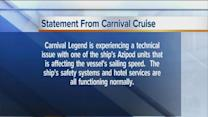 Another problem with Carnival cruise ships - the Carnival Legend has an issue with its propulsion system