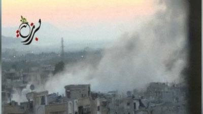 Raw: Shelling Rocks Syrian Capital