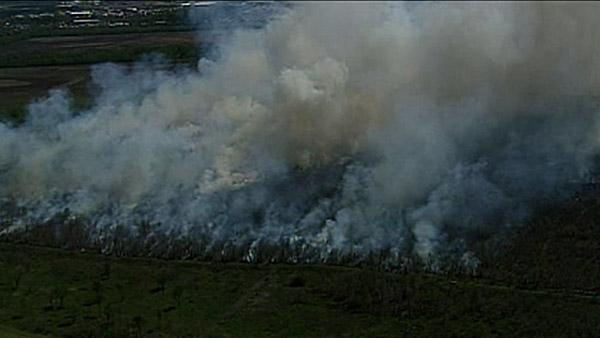 Aerials of controlled burn on NE side