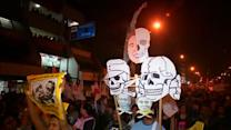 Thousands in Peru protest against election frontrunner