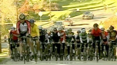 Lance Armstrong Takes A Ride Through Vermont