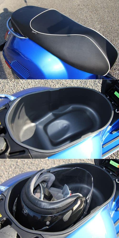 座墊下的置物空間增大,可放入Airoh品牌J105款式的3/4安全帽。