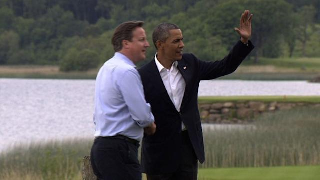 G8 leaders greeted by Cameron in Lough Erne