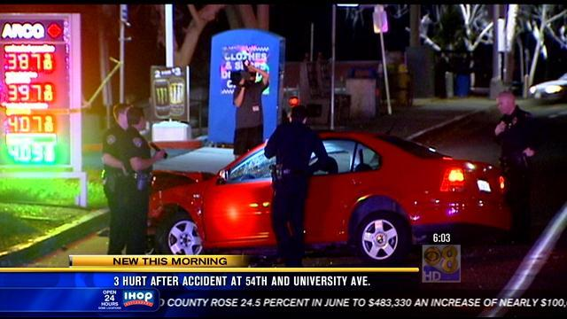 Three injured after accident at 54th and University