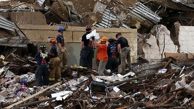 Searching through rubble after massive Oklahoma tornado