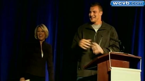 Heather, Gronk light the Pru in blue