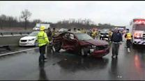4 cars collide in Delaware on NB I-95, woman trapped