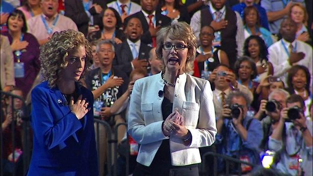 Gabby Giffords leads DNC in the Pledge of Allegiance