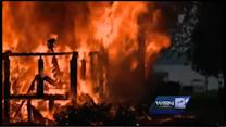RAW: Pewaukee Lake house burns to the ground