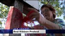 Dixon Residents Protesting Sewer-Rate Hike With Red Ribbons