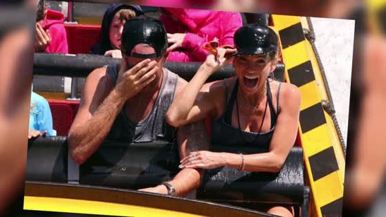 Sarah Harding Gets Soaked With Boyfriend Mark Foster at Universal Studios