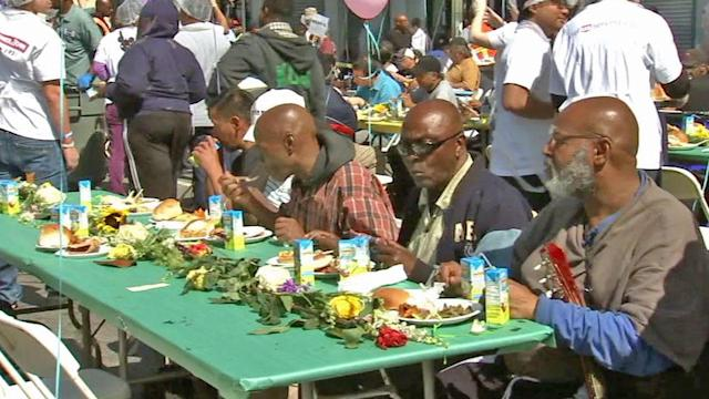 LA Mission celebrates Good Friday with free meals, shoes for homeless