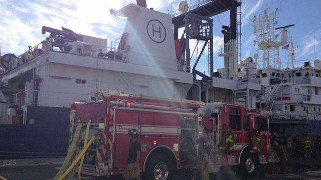 Research Ship Catches Fire While in Port