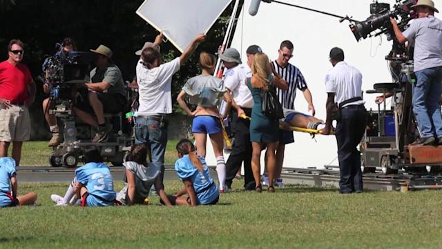AnnaLynne McCord and Jessica Stroup Strip Down For 90210 Football Scene