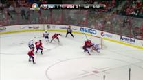 Neuvirth sprawls out to rob Okposo in tight