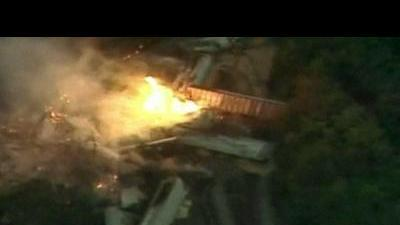 Train derails in Ohio and bursts into flames