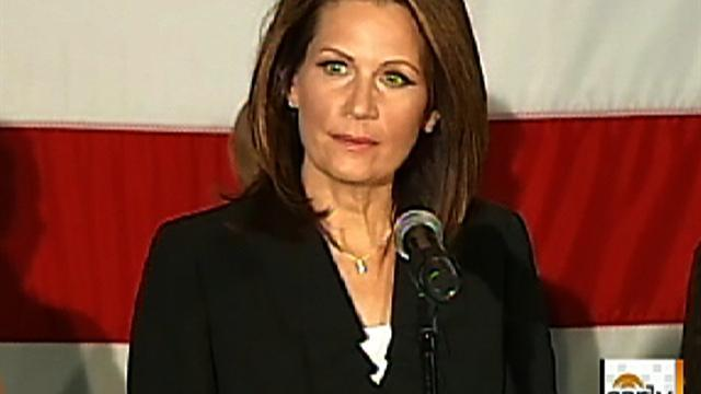 Bachmann speech interrupted by hecklers