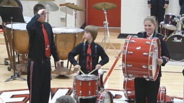 Student handles cymbal break during performance like a champ