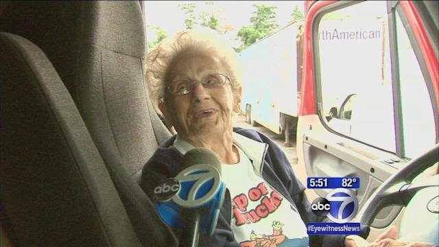 Never too old: 97-year old New Jersey grandma drives big rig