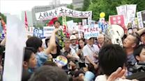 Tokyo protest rails against PM Abe's security bills